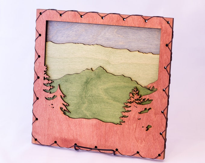 Large: Cabin Decor Mountain Scene