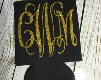 Monogrammed Can Holders / Glitter monogrammed can holder / Monogram glitter can cooler / beverage huggie / can hugger