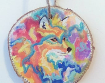 Fox,rainbow,animal,rustic,ornament
