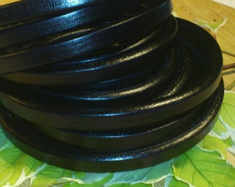 leather licorice 10x6mm oval high-quality 20cm black