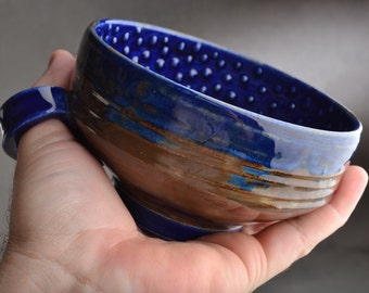 Dottie Shaving Bowl Made To Order Chawan Dottie Dark Blue Starry Night Shaving Bowl With Handle by Symmetrical Pottery
