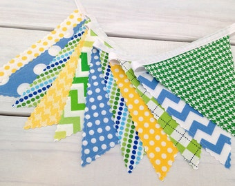 Garland Fabric Bunting Nursery Bunting Banner Baby Boy Nursery Decor Baby Shower Party Decorations Blue Yellow Lime Green Blue Chevron