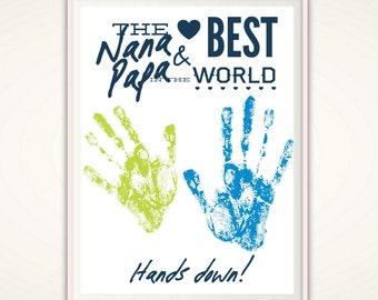 Nana and Papa Gifts, Grandparent Gift, Personalized Grandparent Gift From Kids, Gift from Grandkids, Personalized Handprint Art, PRINTABLE