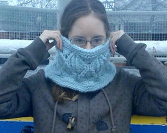 """Knitting Pattern: Bulky Lace and Cables Cowl -- Instant PDF Download - """"Snowdrop Lace Cowl""""."""