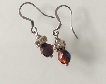 Swarovski crystal beads earrings with surgical steel hooks