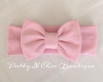 Pastel Pink Cozy Bow Headwrap