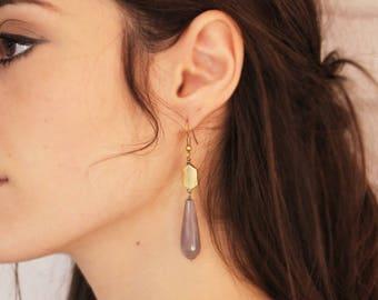Geometric Stone Drop Earrings - Birthday - Wedding - Gift for her