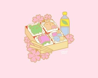 Hanami Bento Box o' Buddies Enamel Pin PREORDER, 40mm, Hard Enamel, Gold, Pink, Pastel, Cute, Kawaii, Japan, Sakura, Flowers, Mochi, Foodie