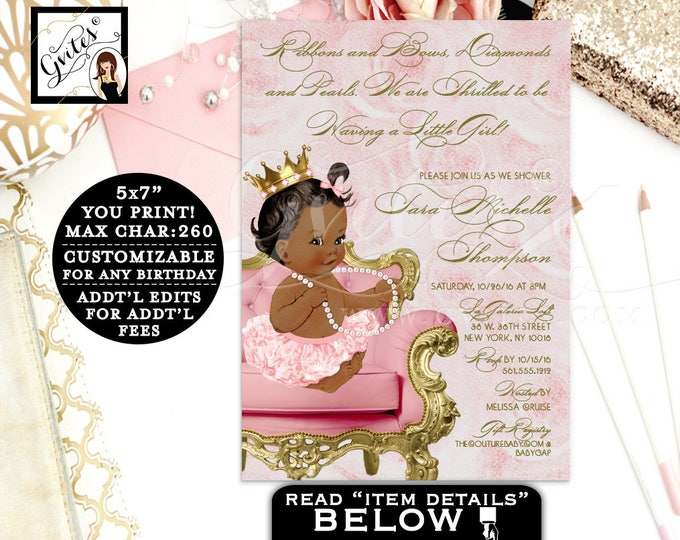 Ribbons and bows diamonds pearls BABY SHOWER, baby girl, pink and gold African American baby shower digital invitations, 5x7. Gvites