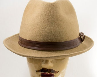 Dark Camel Brown Colored Fedora, Fur Felt Men's Hat with Brown Leather Bands, Men's Trilby
