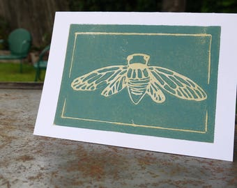 Dog Day Cicada | linocut cards  (Set of 5)