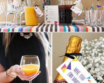 Geometric Triangular Brunch or Birthday PRINTABLE Party Collection - You Customize EDITABLE TEXT >> Instant Download | Paper and Cake