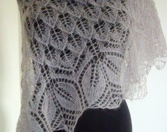 Mohair silk triangular lace shawl. Hand knitted. Color rusett.