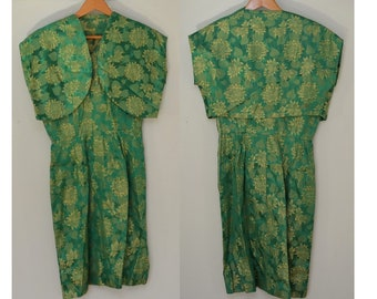 Vintage Green and Gold Brocade  Asian Style Dress with Jacket
