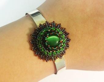 Beadwoven Cat's Eye Adjustable Bracelet, Beaded Floral Cuff, Silver Plated Bangle, Adjustable Bracelet Blank, Green Cuff by enchantedbeads