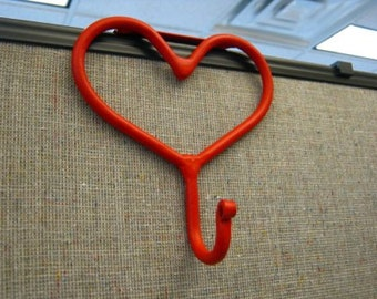 "Office Cubicle Decoration, Handmade, Metal Heart Coat Hook For 2"", 2 1/2"" or 3"", Hand Forged - Red"