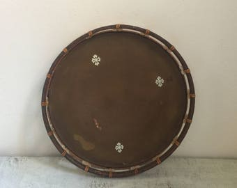 Vintage asian wood serving tray with mother of pearl details