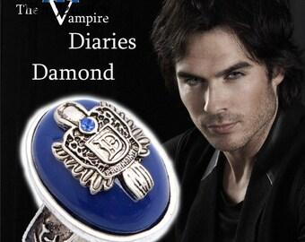 Damon Salvatore Signet Daylight Ring with blue crystal/ Vampire Diaries Merchandise/Damon Jewelry