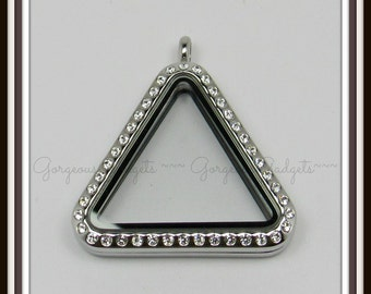 Floating Locket / Glass Locket / Memory Locket Pendant Stainless Steel Triangle With Crystals
