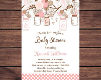 Mason Jar Baby Shower Invitation Girl, Mason Jar Baby Shower Invitation Pink Vintage Rustic   233 Printable Invitation