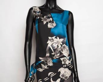 Short silk print dress / sleeves/flowers/blue grey and black/casual chic/handmade / T 38/woman