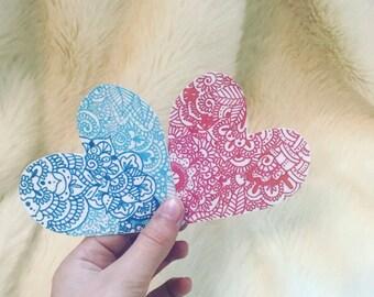Sticker-Heart zentangle- pink or blue- matte vinyl