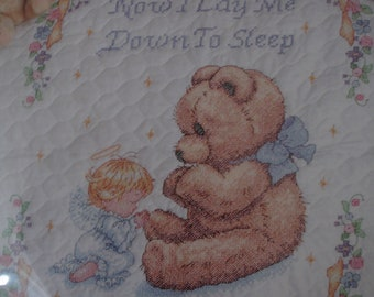 "Dimensions Sweet Prayer ""Now I Lay Me Down to Sleep"" Cross Stitch Kit/Baby Crib Cover Pre-Stamped & Quilted"