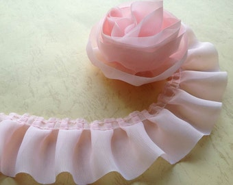2 Yrds Pink Ruffled Chiffon Lace Trim for Baby Dress, Flower, Birthdays Party, Costume design