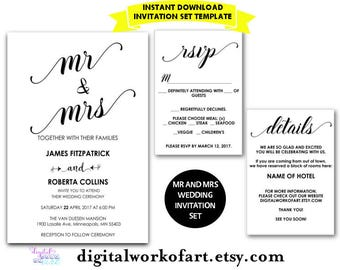 Wedding Invitation Template, Mr and Mrs, Printable, chic, modern, calligraphy, Formal Invitation, DIY, rustic invite, PDF Instant Download