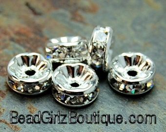Silver Rhinestone Beads, Grade AAA, Nickel Free, Rondelle, Crystal, 8x3.8mm -20