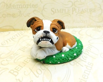 English Bulldog lover Sculpture by Raquel at theWRC hand sculpted polymer clay Collectible DOG lover gift