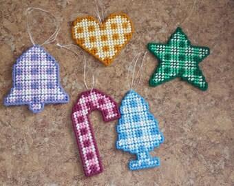 Set of 5 Plastic Canvas Ornaments-2