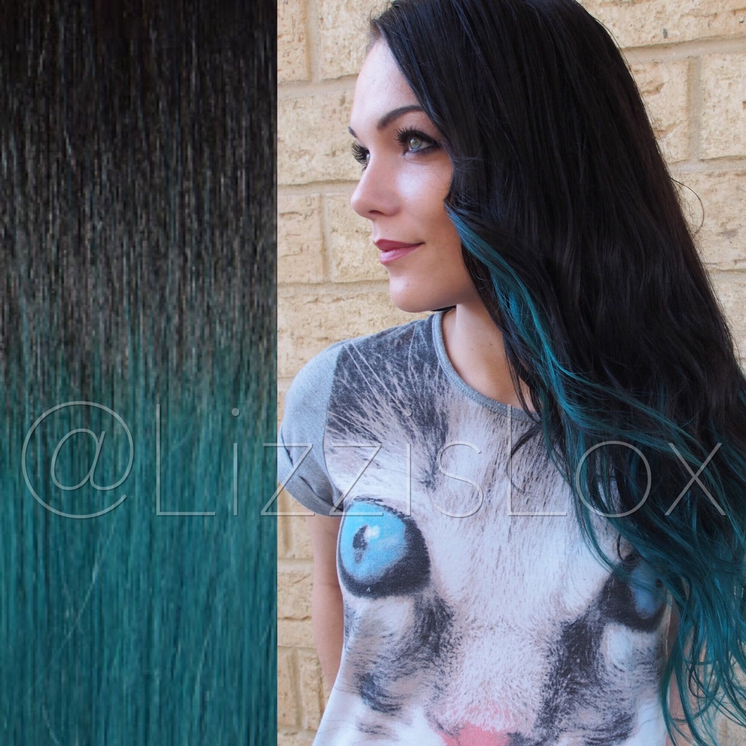 Black To Teal Extensions Tape And Clip In 100 Remy Human