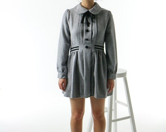 Short Flared Dress / Gray Dress / Peter Pan Collar Dress