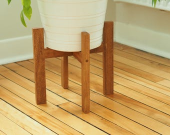Mid century modern wood plant stand   Square leg   Flower pot holder   Wooden plant stand   West Elm inspired   Made in Canada