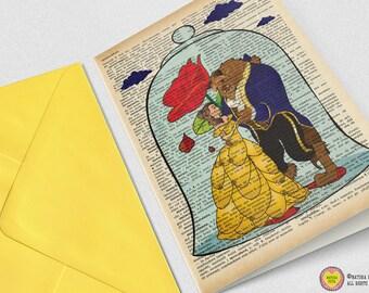 Beauty and the Beast Card-Belle card-The beast card-Beuty beast Invitation-Stationerwedding card-love card-blank card-handmade card-card set