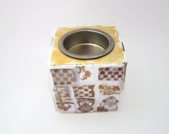 Gold and White Mosaic Tea Light / Candle Holder - Broken China Mosaic Tealight Holder - Christmas Decor