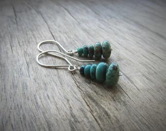 Turquoise earrings Short silver earrings Turquoise drop earrings Short dangle earring Sterling silver jewelry Turquoise jewelry Gift for her