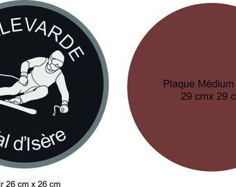 """ski slope"" stencil and plate medium"