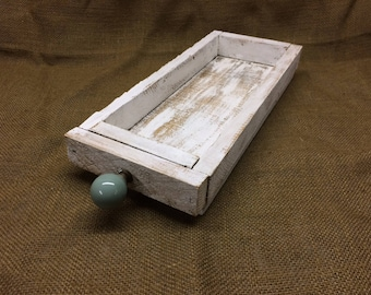 Small Recycled Wood Wooden Tray White Display Tray Candles Seashells Remote Control