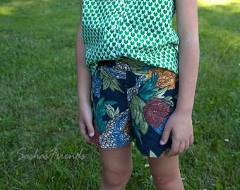Cute little girls shorts,  girls shorts, printed  girls shorts, linen shorts, elastic waist shorts, navy shorts