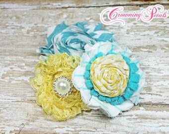 Yellow, Aqua Headband, Turquoise Hair Accessories, Fabric Flowers, Baby Girl Hair Bow, Teal Hair Clip, Fabric Flower Brooch, Photo Prop