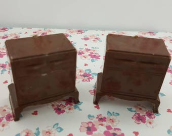 Plasco Bedroom Night stands Brown hard plastic  Toy Dollhouse Traditional Style 1944