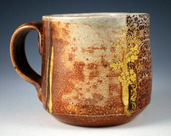 Wood Fired Mug with Pattern and Bling
