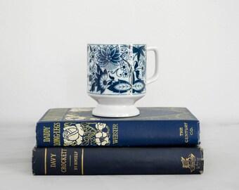 vintage ceramic mug / china blue pedestal mug
