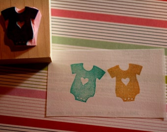 Baby shower rubber stamp of an Onesie - hand carved