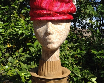 Mr John for I. Magnin Spring Embroidered Tapestry Pillbox Turban Hat 1960s Pink Red Cream Purple