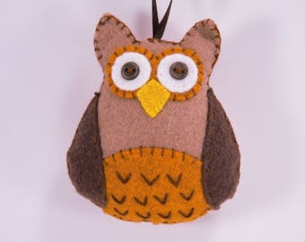Felt Owl Decoration, Felt Owl Ornament, Woodland Bird Ornament, Hand stitched Wool Felt Owl Ornament, bird ornament