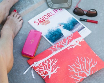Wet Swimsuit Bag - Super Cute with Waterproof Lining - To the Sea Wander Wet Bag in Coral Reef by Wander Wet Bags™ - FREE USA Shipping