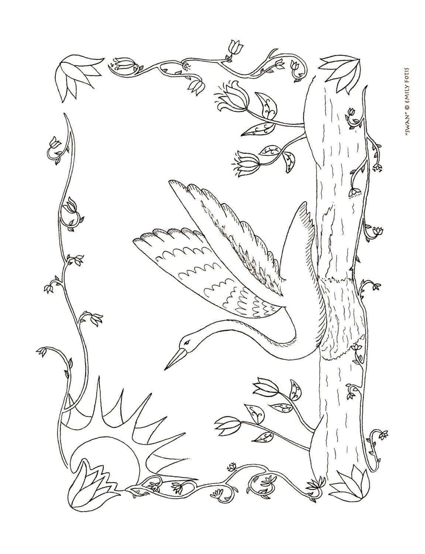 Fraktur americano libro de pintura y Color cisne E-hoja